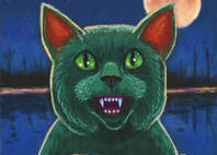 Halloween black cat monster