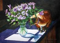 cat flowers paintings