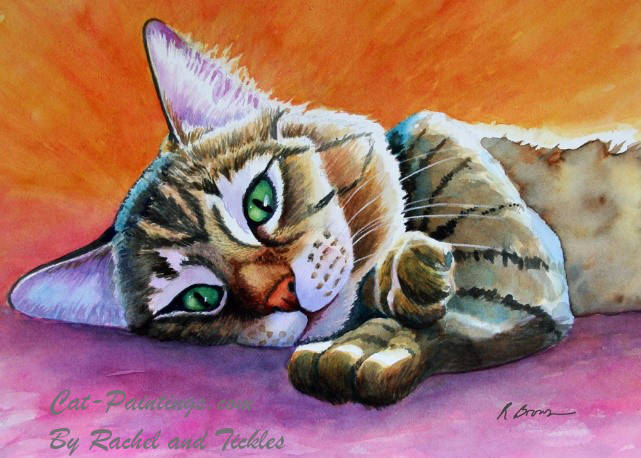 Painting of Sleepy Cat
