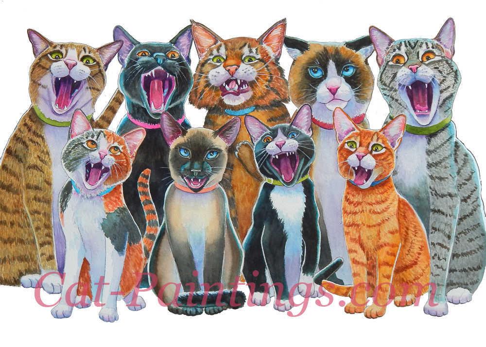 Carolling Cats Christmas Card