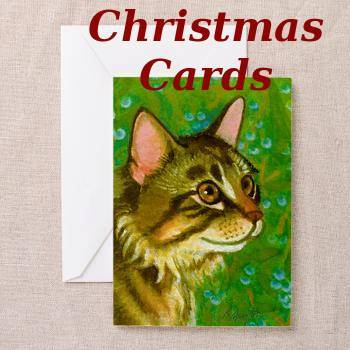 Mistletoe Christmas Cards with Maine Coon Cat