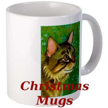 Maine Coon Cat on Christmas Coffee Mug
