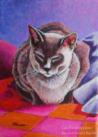 Painting of Siamese Cat Sleeping