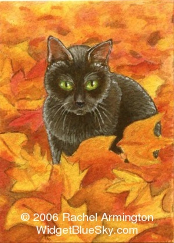 ACEO of Kitten in Leaves
