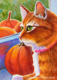 Tabby Cat with Pumpkins on Halloween