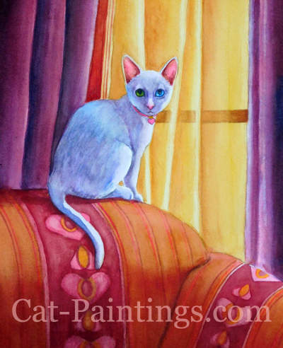 White Kitten Painting